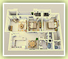 Mesa Verde 2 bedrooms - 2 bathrooms - 3D Plan Schema