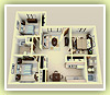 Large Three Bedrooms / Two Baths - 3D Plan Schema