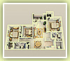 3 Bedrooms - 2 Baths - 3D Plan Schema