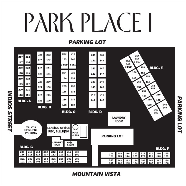 Park place apartments map of the complex for Apartment complex map maker